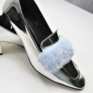 Silver and Blue Fuzzy ASOS Pumps WIth Block Heel